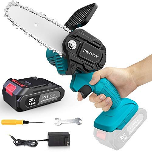 Merece 4 Inch Mini Chainsaw 20v 1.5Ah Cordless Electric Small Chainsaw