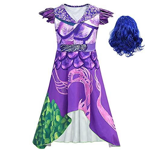 ACCLD Disfraz de Cosplay para niñas descendientes 3 Vestido púrpura Disfraz de Cosplay para niños Estampado en 3D Disfraces de Halloween para niñas Fiesta de Carnaval para niñas,D,XL