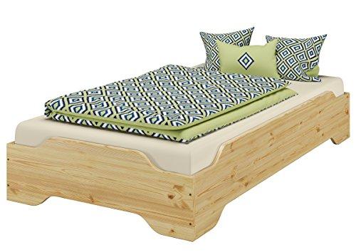 Erst-Holz® Stapelbett, Gästebett 80x200 Massivholz Kiefer Matratze Rollrost 60.56-08 M