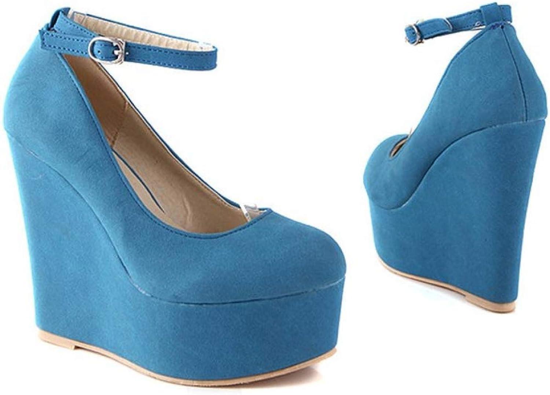 Lady Hight Heels shoes Closed Toe Wedge Platform Pump Comfortable Office Walking Dress Slip On Sandals