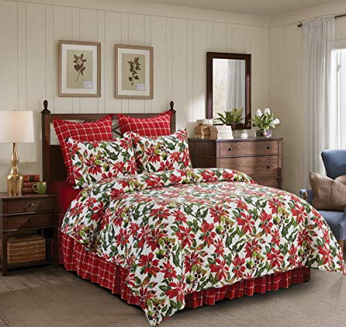 C&F Home Poinsettia Berries Full/Queen Cotton Quilt Set Reversible Machine Washable Bedding Christmas Xmas Holiday Bedding Full/Queen 3 Piece Set Red