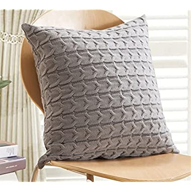 Andaa 18  x 18  Decorative Pillow Covers Double-Cable Knitted Pillow Cover Case For Home Decor Bedroom Car (Gray, Cover Only)