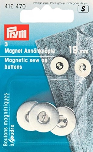 Prym 1 416470 Magnetknöpfe zum Aufnähen, 19 mm, Silber col, metall