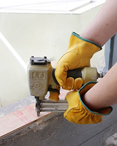 OZERO Leather Work Gloves Flex Grip Tough Cowhide Gardening Glove for Wood Cutting/Construction/Truck Driving/Garden/Yard Working for Men and Women 1 Pair (Gold,Medium)