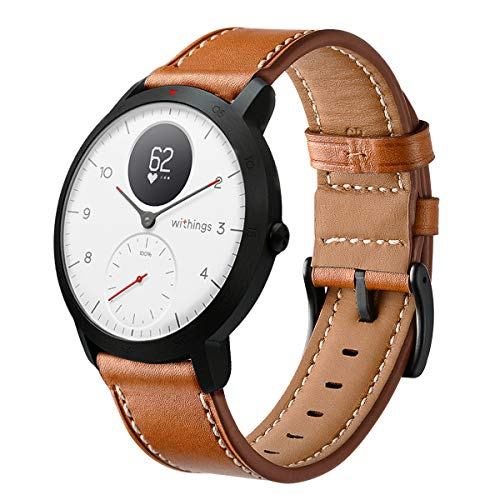 HATALKIN Watch Band for Withings/Nokia Steel HR Band 40mm Leather,20mm Watch Band Geniune Leather Replacement Strap Compatible Withings/Nokia Steel HR Sport Smartwatch (40mm) (Brown)