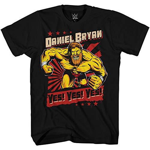 WWE Boys Daniel Bryan Shirt - Yes, Yes, Yes Superstar Tee - World Wrestling Champion T-Shirt (Black, Medium)