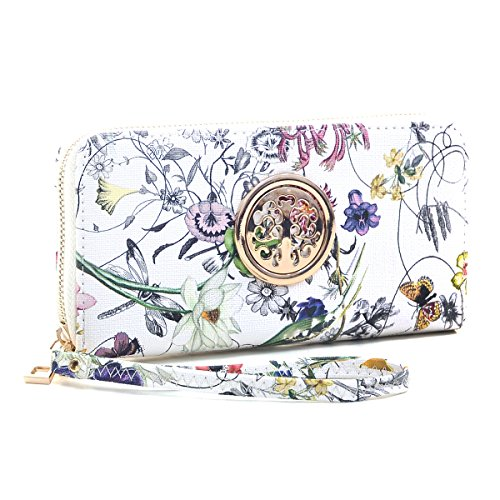 Women Fashion Floral Vegan Leather Wallet Purse for Women Credit Case Wristlet Wallet White Flower