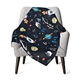 zigani Space Rockets Baby Blankets, Cozy Soft Fuzzy Lightweight Breathable Swaddle Blankets for Crib Stroller and Bed(30X40in)