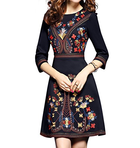 Women's Premium Embroidered Floral 2/3 Sleeves Skater Cocktail Formal Mini Dress (S, Black)