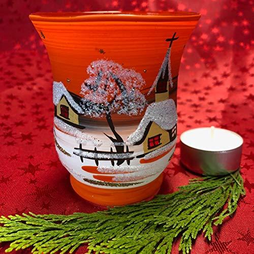 Generisch Windlicht Hurricane Medium Leuchtglas Teelichthalter Glas Handarbeit Lauscha, Orange