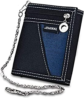 St. Lun Boy Canvas Sport Wallet, OURBAG Men Casual Trifold Short Wallets Fashion Purse with Chain Black (Color : Black)