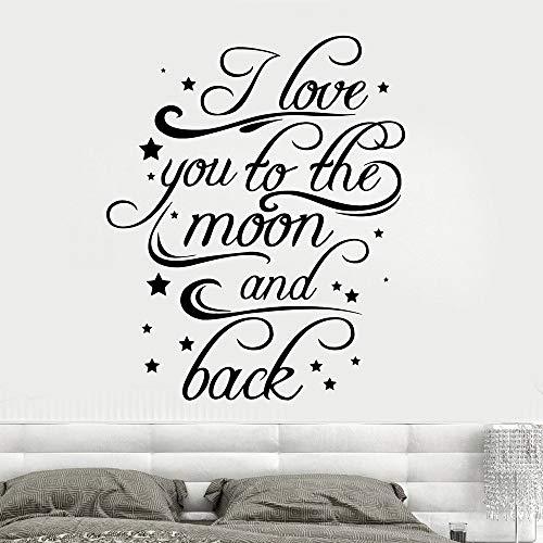 Pegatinas de pared amor te amo a la luna y la espalda calcomanías de vinilo para pared habitación romántica decoración interior del hogar dormitorio papel tapiz