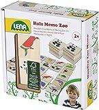 Lena 32165 Holzspielzeug Memo Zoo, Merkspiel mit 40 Teilen aus FSC 100% Holz, 24 Paare zum Suchen und Aufdecken, Paarsuchspiel für Kinder ab 2 Jahre, Memospiel mit fröhlichen Tier Motiven, Mehrfarbig -
