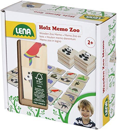 Lena 32165 Holzspielzeug Memo Zoo, Merkspiel mit 40 Teilen aus 100% FSC Holz, 24 Paare zum Suchen und Aufdecken, Paarsuchspiel für Kinder ab 2 Jahre, Memospiel mit fröhlichen Tier Motiven, Mehrfarbig