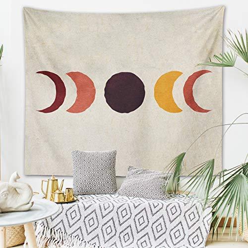 "Vintage Sun and Moon Tapestry Retro 70s Rainbow Sunrise Sunset Minimal Geometric Grunge Abstract Art Print Boho Wall Hanging Hippie Meditation Celestial Bohemian Decor for Dorm Living Room Nursery Bedroom (Vintage Moon, 51""x60"")"