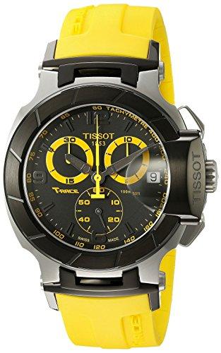 T-Race analogico cronografo nero quadrante giallo cinturino uomo