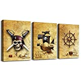 Pirate ship and rudders Canvas Wall Art for Living Room Bedroom Decoration wall painting ,Bathroom Wall Decor Home Decoration kitchen posters artwork,Adventure map decoration 16x12 inch/ 3 piece set