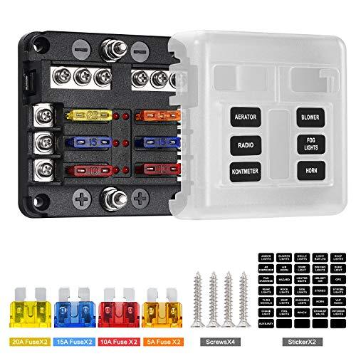 Deyooxi caja fusibles 12v,portafusibles con Lámpara de Alerta LED Kit,porta fusibles coche con Bus Negativo para Coche, Barco, Marino, Triciclo, Furgoneta,SUV 12V/24V(Estilo 2-6-circ con Neg & Cover)