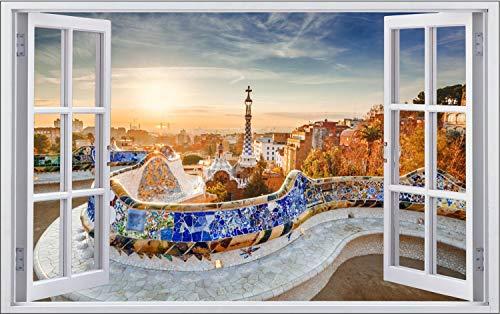 Barcelona Spanien Skyline Stadt Wandtattoo Wandsticker Wandaufkleber F1506 Größe 100 cm x 150 cm