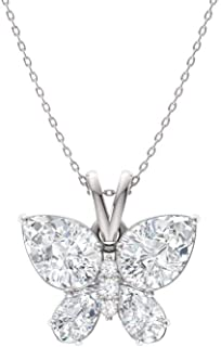 Diamondere Natural and Certified Gemstone and Diamond Butterfly Petite Necklace in 14k White Gold | 1.04 Carat Pendant with Chain