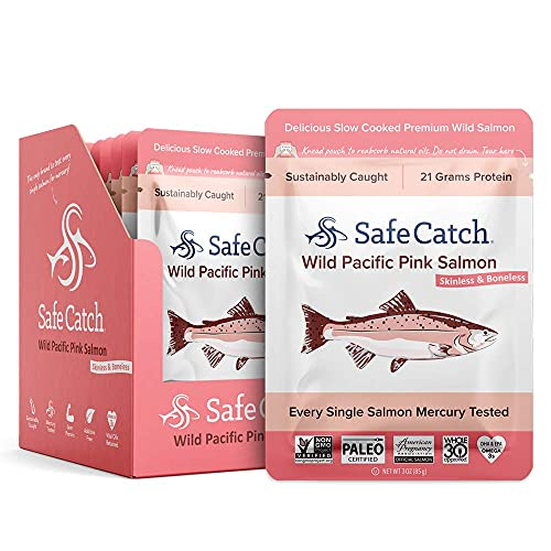 Safe Catch Skinless and Boneless Wild Pacific Pink Salmon, Kosher, 3oz Pouches (Pack of 12)