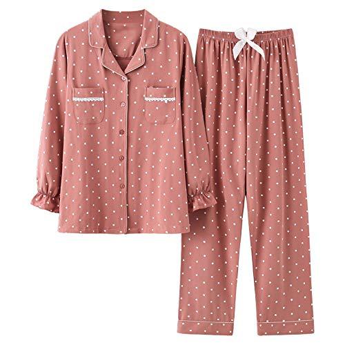 Pyjama Damen Nachthemd Schlafanzug Mode Nachtwäsche Damen Baumwolle Cute Pyjamas Mädchen Langarm Tops Hosen Mit Taschen Dot Casual Lounge Wear XL 001