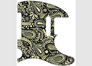Custom Graphical Pickguard to fit Fender Tele Telecaster Paisley Cream On Black