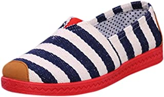 Sharemen Womens Mesh Flat with Cotton Casual Walking Stripe Sneakers Loafers Soft Shoes