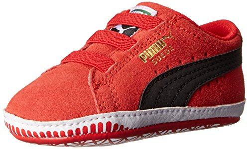 PUMA Suede Crib Shoe,High Risk Red/Black,4 M US Toddler