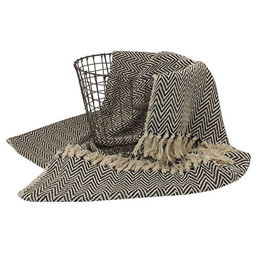 MACOSA SA87272 Hochwertige Wohndecke Schwarz Beige mit Fischgrat-Muster 100% Baumwolle Fransen-Decke Plaid Sofadecke Designdecke Wolldecke Reisedecke