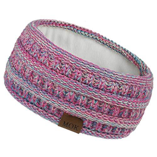 FORH--G-String Stirnband Damen gestricktes Haarband Mädchen Ohrenwärmer mit Zopfmuster, gefüttert mit weichem Fleece Innenfutter (A48)