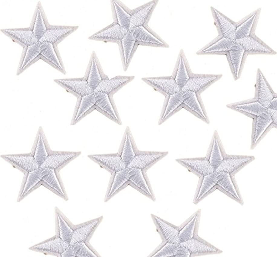 Yalulu 20Pcs White Star Embroidered Iron On/Sew On Badge Applique Patch for Clothing