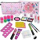 Kids Washable Makeup Set -Real Cosmetic kit with Unicorn Makeup Bag-Nail Polish- Eye Shadow-Lip Gloss-Stick-...