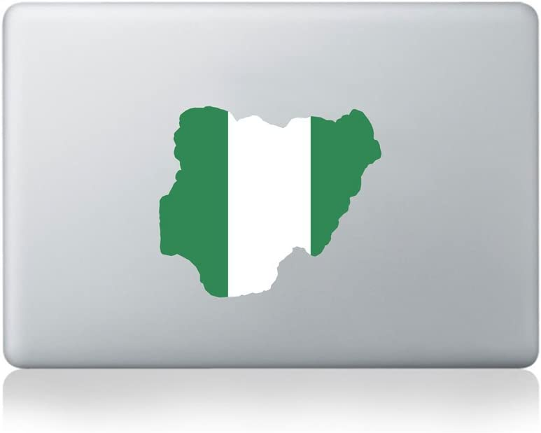 National Flag Country Outline of Nigeria Vinyl Sticker for MacBook (13/15) or Laptop