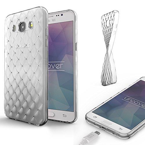 Urcover Custodia Brillantini 3D Glitter Samsung Galaxy J1 2016   Cover con Strass in Silicone TPU Morbido Transparente   Protezione Glamour Trasparente