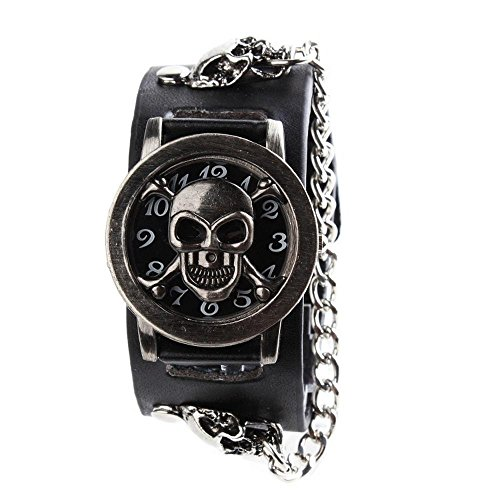 Yesurprise Reloj de pulsera para hombre o mujer, calavera, rock, punk, piel, reloj de cuarzo