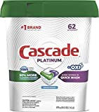 Cascade Platinum Actionpacs + Oxi, Dishwasher Detergent, Fresh Scent, 62 Count
