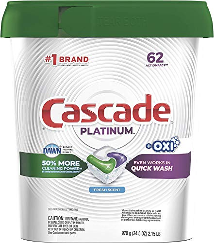 Cascade Platinum Dishwasher Pods, Actionpacs + Oxi Dishwasher Detergent, Fresh, 62 Count