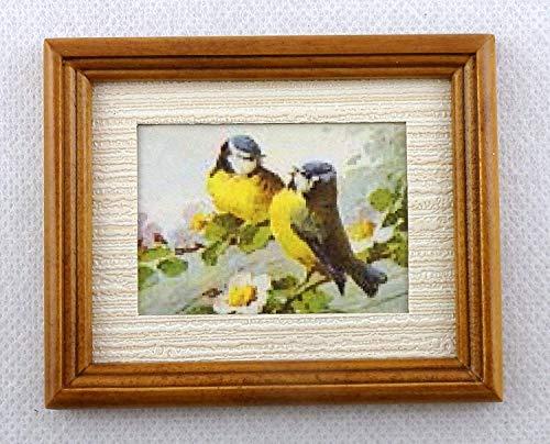 Melody Jane Poupées Miniature Accessoire Bleu Tit Oiseaux Image Peinture dans Cadre Noyer