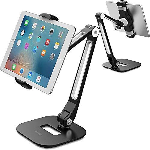Soporte para tableta de brazo largo de aluminio, soporte plegable para iPad con soporte de montaje giratorio de 360 °, adecuado para pantallas de 4-11 pulgadas, para mesas de cocina