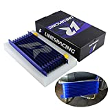 Universal 10 Row AN10 Engine Transmission Aluminum Oil Cooler Trust Style Blue (10Row, Blue)