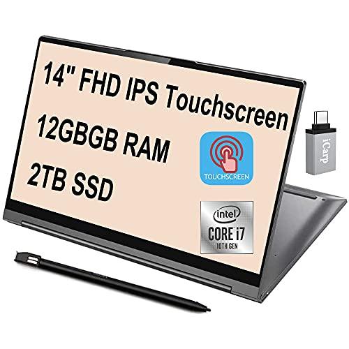 Flagship 2021 Lenovo Yoga C940 2 in 1 Laptop 14' FHD IPS Touchscreen 10th Gen Intel Quad-Core i7-1065G7 12GB DDR4 2TB SSD Dolby Thunderbolt Backlit Fingerprint Win10 + iCarp USB-C Adapter