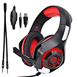 Beexcellent GM-1 Over-Ear Wired 3.5mm Pro Gaming Headset Surround Sound Gaming Headphone with LED Effect and Microphone for PC, Laptop, Tablet, PS4, Xbox, Cell Phone (Red)