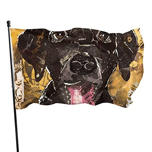 GOSMAO Bandera de jardín Pintura al óleo Perro Amarillo Color Vivo y Resistente a la decoloración UV Bandera de Patio Cosida Doble Bandera de Temporada Banderas de Pared 150X90cm