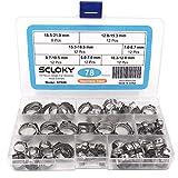 Seloky 78個入り ホースバンド 強力 ステンレス鋼 ホーズの シングル 耳ホース クランプキット 直径6-21mm 錆ない 品質保証 綺麗な収納ケース 便利