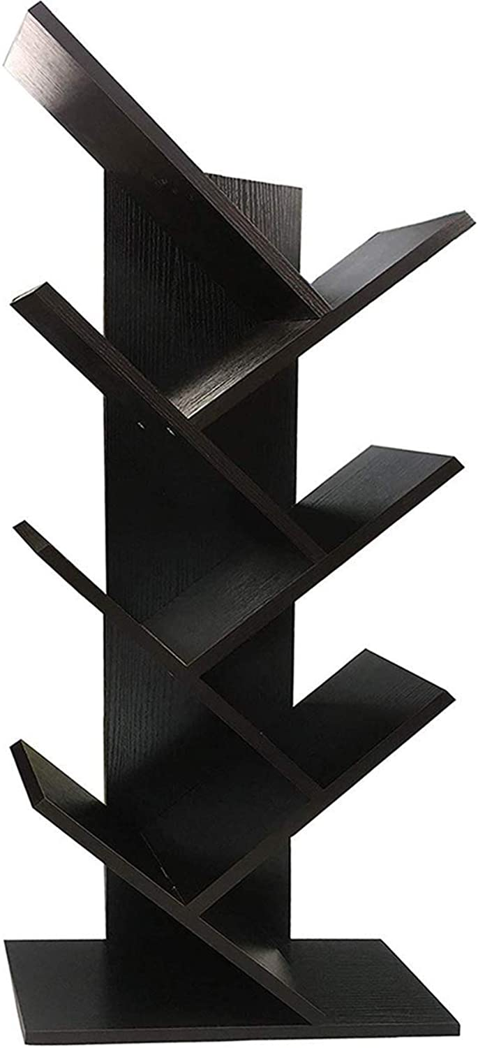 WSTECHCO Bookcases and Book Shelves 7 Shelf Tree Bookshelf MDF Black Small Book Shelves Wood Compact Book Rack Organizer Shelf Display for CDs, Movies & Books Black