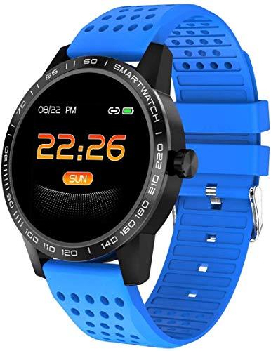 Hartslagmeter Smart Watch waterdicht stappenteller horloge voor kinderen vrouwen mannen zwart/blauw