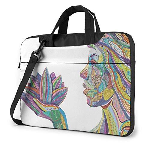 Estuche para computadora portátil, Mujer de Yoga Espiritual con maletín de Flores de Loto, Bolso de Mensajero para computadora portátil, 15.6 Pulgadas