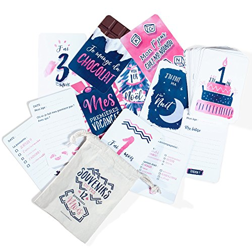 50 Cartes Étapes Mixtes Souvenirs de la 1ère année de Bébé - Création Familiale Française - Cadeau de Naissance pour faire de jolies Photos et écrire les Premières Fois de Bébé - Grand Format 16x11cm