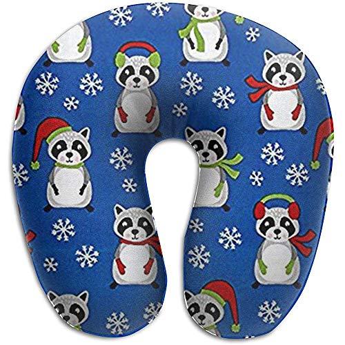 Warm-Breeze Frohe Weihnachten Waschbären Komfortables U-förmiges Kissen, Reisekissen Memory Foam Neck Support